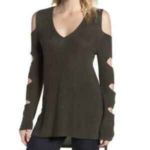 1. STATE Olive Green Cutout Sweater